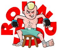 Cartoon MMA Fighter. MMA fighter on stool getting ready for round 5 Stock Images