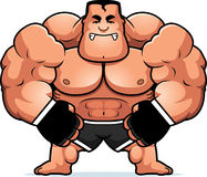 Cartoon MMA Fighter Angry. A cartoon illustration of a mma fighter looking angry Stock Images