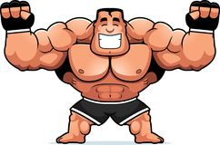 Cartoon MMA Fighter Celebrating. A cartoon illustration of an MMA fighter celebrating Royalty Free Stock Image