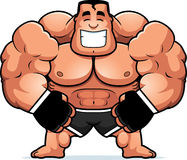 Cartoon MMA Fighter Flexing. A cartoon illustration of a mma fighter flexing Stock Photos
