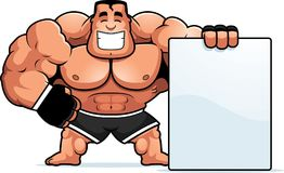 Cartoon MMA Fighter Sign. A cartoon illustration of an MMA fighter with a sign Royalty Free Stock Photos