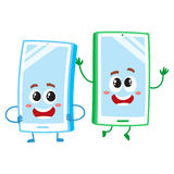 Cartoon mobile phone characters, one arms akimbo, another jumping happily. Two cartoon mobile phone characters, one arms akimbo, another jumping happily, vector Stock Photo