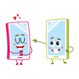 Cartoon mobile phone characters, one showing love, another pointing, laughing. Two cartoon mobile phone characters, one hugging itself with love, another Stock Photos