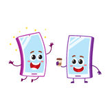 Cartoon mobile phone characters, smiling happily, holding paper coffee cup Royalty Free Stock Images