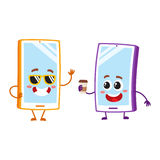 Cartoon mobile phone characters, wearing sunglasses, holding paper coffee cup. Two cartoon mobile phone characters, one in funky sunglasses, another holding Stock Photo