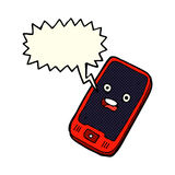 Cartoon mobile phone with speech bubble Stock Photography