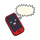 cartoon mobile phone with speech bubble Royalty Free Stock Image