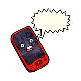 cartoon mobile phone with speech bubble Stock Photos