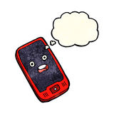 cartoon mobile phone with thought bubble Stock Images