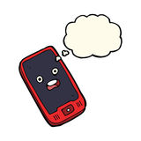 cartoon mobile phone with thought bubble Stock Photos