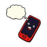 cartoon mobile phone with thought bubble Royalty Free Stock Images