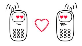 Cartoon mobile phones. Feelings of love and hearts. 3D rendering vector illustration