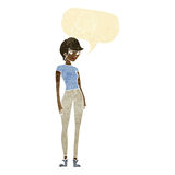 cartoon modern attractive woman with speech bubble Royalty Free Stock Images