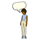 cartoon modern attractive woman with speech bubble Stock Image