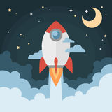 Cartoon modern flat rocket launch flying in space. With moon and stars on background for prints, posters, flyers, startups vector illustration