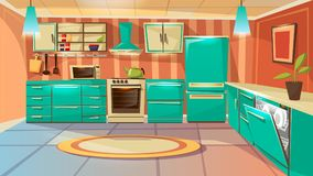 cartoon modern kitchen interior background vector illustration