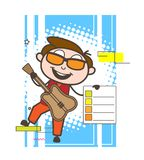 Cartoon Modern Male Rock-Star with Checklist Vector. Design Stock Images