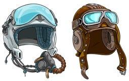 Cartoon modern and retro aviator pilot helmet. Cartoon colorful modern and retro aviator pilot protective helmet with open glass visor and air mask.  on white stock illustration