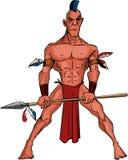 Cartoon Mohawk warrior with a spear stock illustration