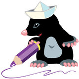 Cartoon mole artist. Holding a pencil, isolated image for little kids Royalty Free Stock Photo