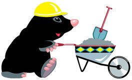 Cartoon mole builder with wheelbarrow Stock Image