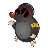Cartoon mole with dark glasses. Colorful illustration of blind mole cartoon character with dark glasses, isolated on white background Royalty Free Stock Photo