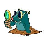 Cartoon mole with glasses Royalty Free Stock Photos