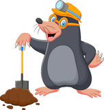 Cartoon mole holding shovel Stock Photography
