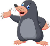 Cartoon mole waving Stock Photography