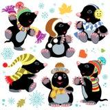 Cartoon mole at winter Stock Photography