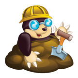 Cartoon mole - worker - in the ground -  Stock Image