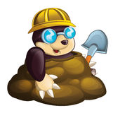 Cartoon mole - worker - in the ground -  Royalty Free Stock Image