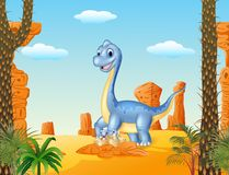Cartoon mom and baby dinosaur hatching with the desert background Stock Photos