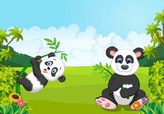 Cartoon mom and baby panda climbing bamboo tree. Illustration of Cartoon mom and baby panda climbing bamboo tree Royalty Free Stock Photography