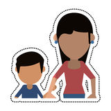Cartoon mom and son holding hands Stock Images