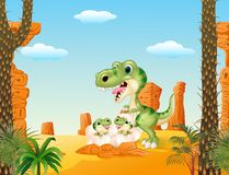 Cartoon mom tyrannosaurus dinosaur and baby dinosaurs hatching Royalty Free Stock Image