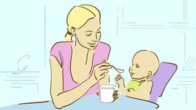 Cartoon Mommy feeds her baby with yogurt on the kitchen. Mommy and baby on the kitchen. Mother feeds her baby with yogurt. Happy family. Cartoon color  sketch in Stock Image