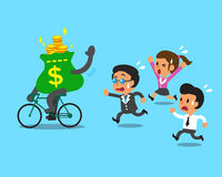 Cartoon money bag rides bike and business team Stock Photography