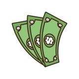 Cartoon money bills dollar cash. Illustration eps 10 Stock Images
