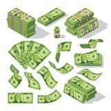 Cartoon money bills. Green dollar banknotes cash vector icons. Cash money paper, financial pile banknotes illustration stock illustration