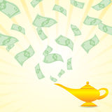 Cartoon money come from magic lamp Royalty Free Stock Photography