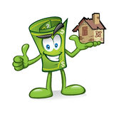 Cartoon money with damaged homes Royalty Free Stock Photo