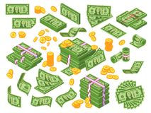Cartoon money. Dollar bills banknotes stack, pile of dollars and banknote heap. Cash piles vector illustration set. Cartoon money. Dollar bills banknotes stack stock illustration