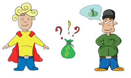 Cartoon money elf and superman kid boy Stock Photography