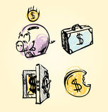 Cartoon money financial icons collection Royalty Free Stock Photography