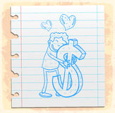 Cartoon money love on paper note, vector illustration Stock Images