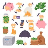 Cartoon money save symbols concept finance icons banking capital investment formation strategy vector illustration Royalty Free Stock Photos