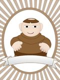 Cartoon monk in ad friendly setting  Stock Photo