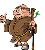 Cartoon monk holding a stick. Isolated on white Stock Photos
