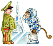 Cartoon monkey astronaut. In a space suit by a rocket Stock Photo